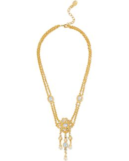 Gold-plated Stone, Crystal And Faux Pearl Necklace