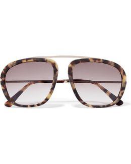 Aviator-style Matte-acetate Sunglasses