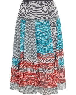 Valenti Printed Silk-chiffon Midi Skirt