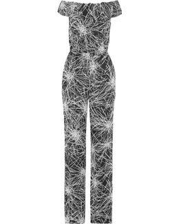 Off-the-shoulder Printed Crepe Jumpsuit