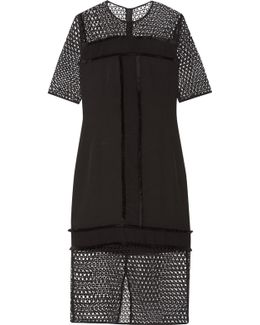 Katnesa Fringed Crepe De Chine And Crocheted Lace Dress