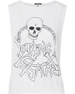 Nothing Sacred Printed Cotton And Cashmere-blend Jersey Tank