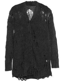 Distressed Cotton-blend Cardigan