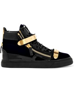 London Veronica Embellished Velvet And Patent-leather High-top Sneakers