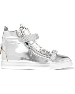 Metallic Embellished Leather High-top Sneakers
