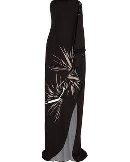Strapless Draped Printed Chiffon Gown