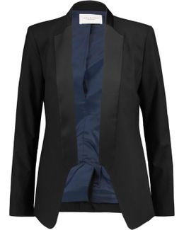 Satin-paneled Wool-blend Twill Blazer