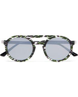 Gravity Round-frame Mirrored Acetate Sunglasses