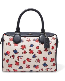 Printed Textured-leather And Smooth Leather Tote