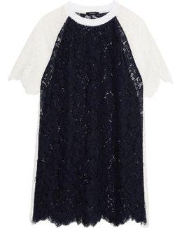 Two-tone Paneled Corded Lace Mini Dress