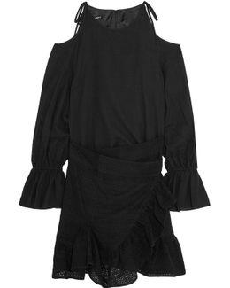 Cold-shoulder Wrap-effect Cotton Mini Dress