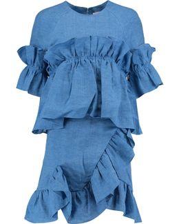 Ruffled Linen Mini Dress
