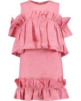 Cold-shoulder Ruffled Linen Mini Dress