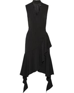 Asymmetric Ruffle-trimmed Crepe Midi Dress