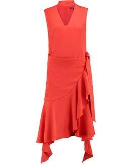 Asymmetric Tie-front Crepe Dress
