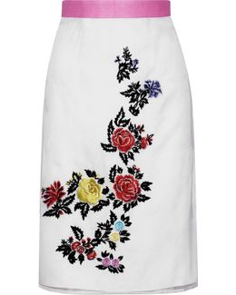 Heart Breakers Embroidered Silk-organza Skirt
