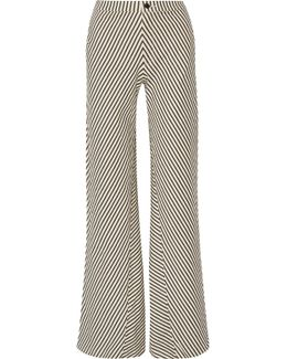 Larrabee Striped Stretch-cotton Flared Pants