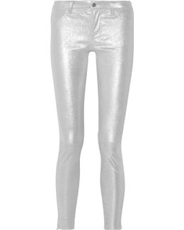 Glittered Stretch-suede Skinny Pants