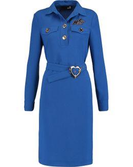 Abito Belted Appliquéd Crepe Dress