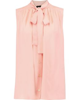 Pussy-bow Pleated Georgette Top