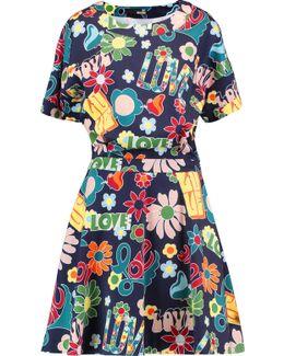 Printed Brushed Cotton-blend Jersey Mini Dress
