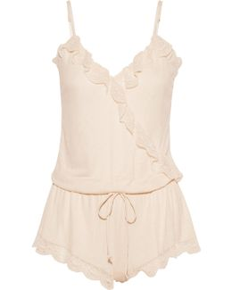 Bonnie Ruffled Lace-trimmed Jersey Playsuit