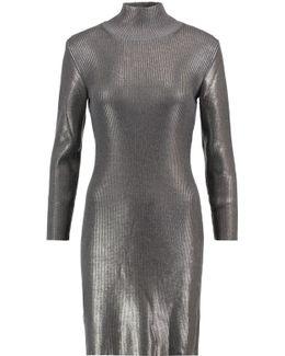 Metallic Ribbed Wool-blend Mini Dress