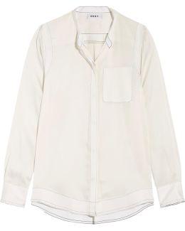 Stretch-silk Crepe De Chine Top