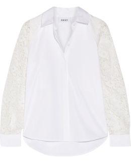 Paneled Lace And Cotton-poplin Shirt