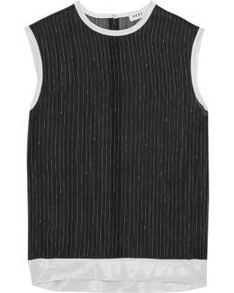 Satin-trimmed Striped Silk-chiffon Top