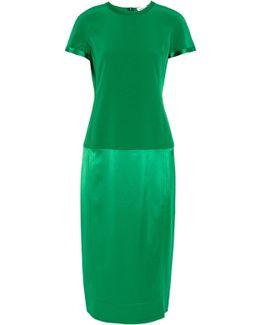 Crepe And Satin-paneled Dress