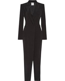 Ribbed-knit Paneled Stretch-crepe Jumpsuit