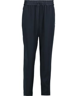 Satin-trimmed Crepe Tapered Pants