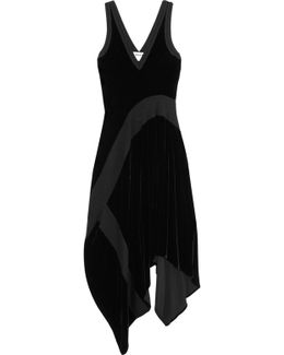 Paneled Stretch-velvet Dress