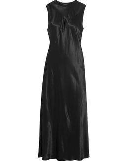 Jersey-trimmed Satin Midi Dress