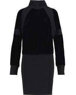 Paneled Velvet And Ribbed Wool Mini Turtleneck Dress