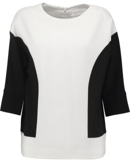 Danielle Two-tone Wool-crepe Top