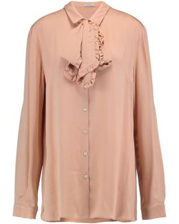 Pussy-bow Crepe Shirt