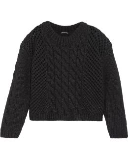 Open Cable Knit Wool Blend Sweater