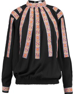 Embroidered Silk-crepe Blouse
