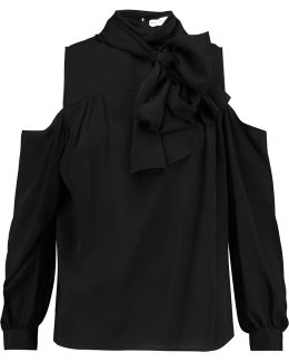 Cold-shoulder Pussy-bow Silk-crepe Blouse