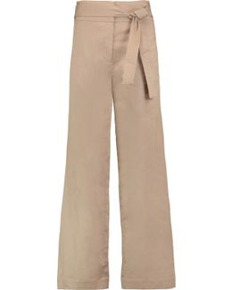 Belted Cotton-blend Twill Wide-leg Pants