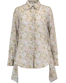Open-back Floral-print Cotton And Silk-blend Shirt