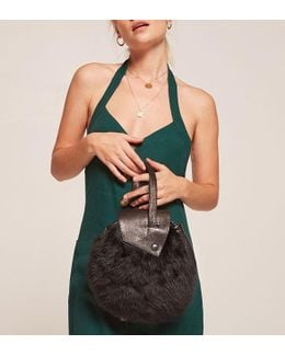 Parme Marin Furry Round Bag
