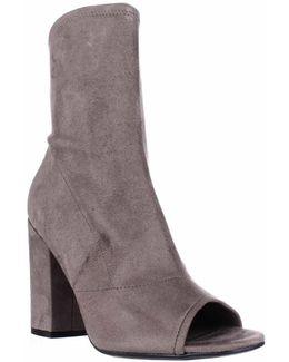 Galyna Peep Toe Block Heel Tall Ankle Booties