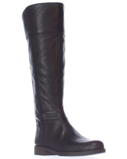 Christine Wide Calf Riding Boots - Black