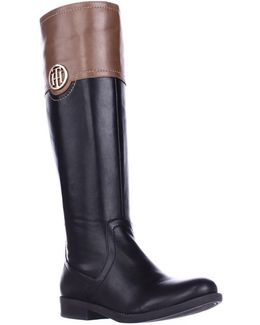 Silvan Wide Calf Logo Embellished Riding Boots