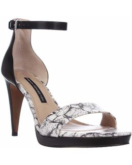 Nata Ankle Strap Sandals - Black/white/black