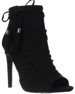 Koorset Peep Toe Tassel Ankle Boots - Black