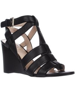 Farfalla Strapped Wedge Sandals - Black2